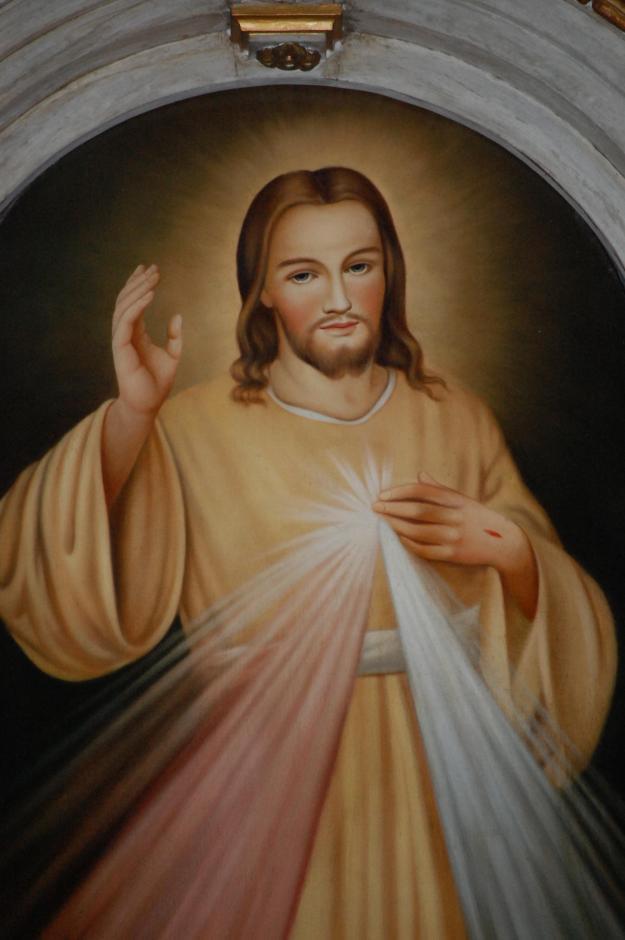 Particolare dell'immagine di Gesu Cristo nella cappella della Divina Misericordia